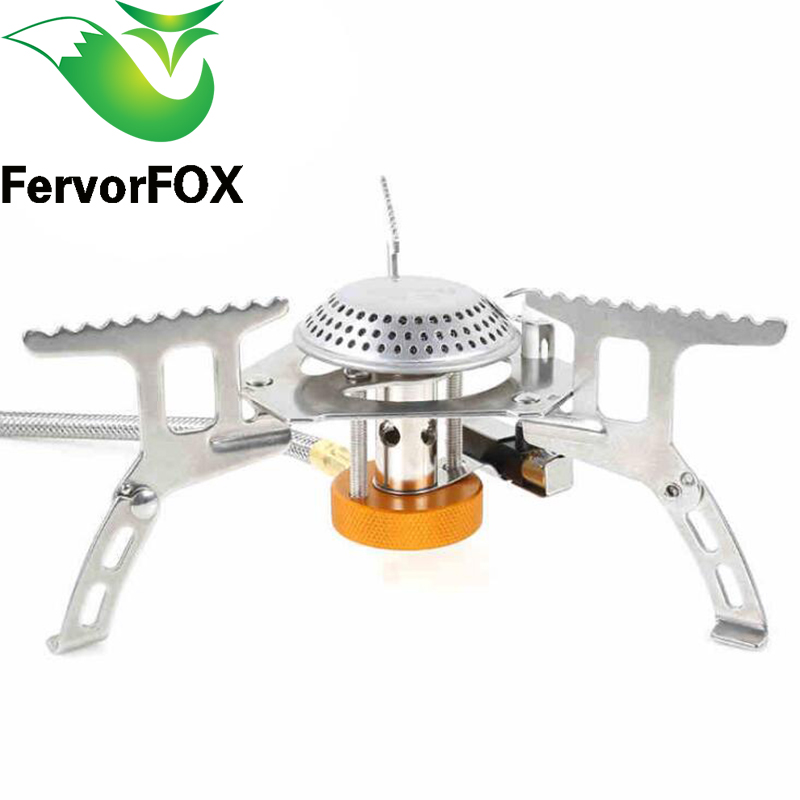 FervorFOX Folding Outdoor Gas Stove Camping Stoves Portable Gas Electronic Stove with Box Portable Foldable Split Stoves 3500W