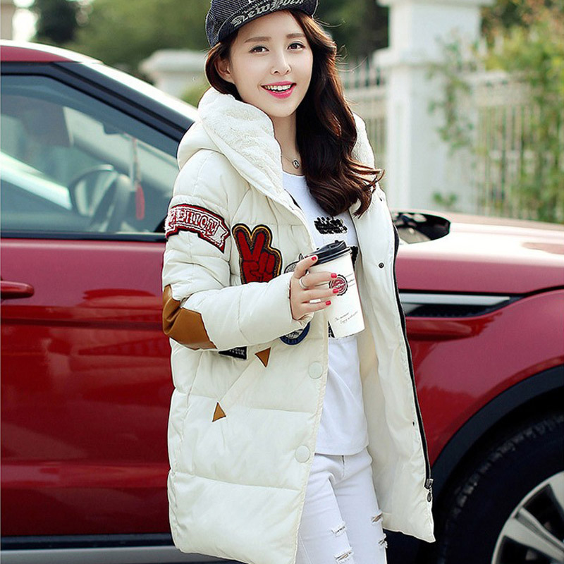 ФОТО Women Winter Clothes 2015 Hot Fashion Cashmere Hooded Coat Appliques Ladies Waterproof Coats Long Warm Thicken Down Parkas Red