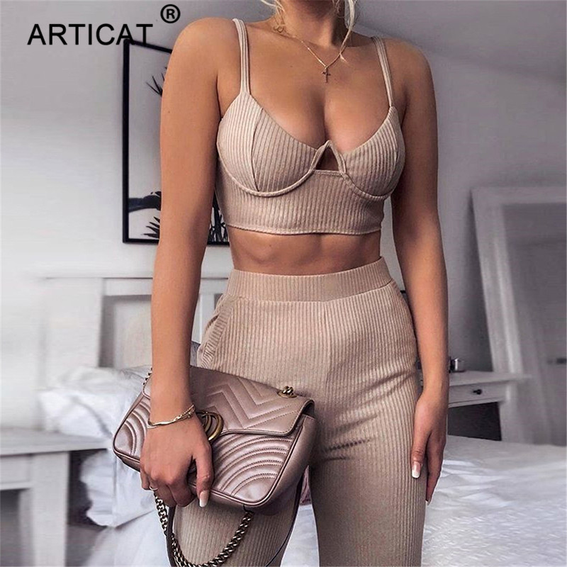 Articat Two Piece Spaghetti Strap Summer   Jumpsuit   Women Sexy Crop Top High Waist Wide Leg Romper Women Casual   Jumpsuits   Outfits