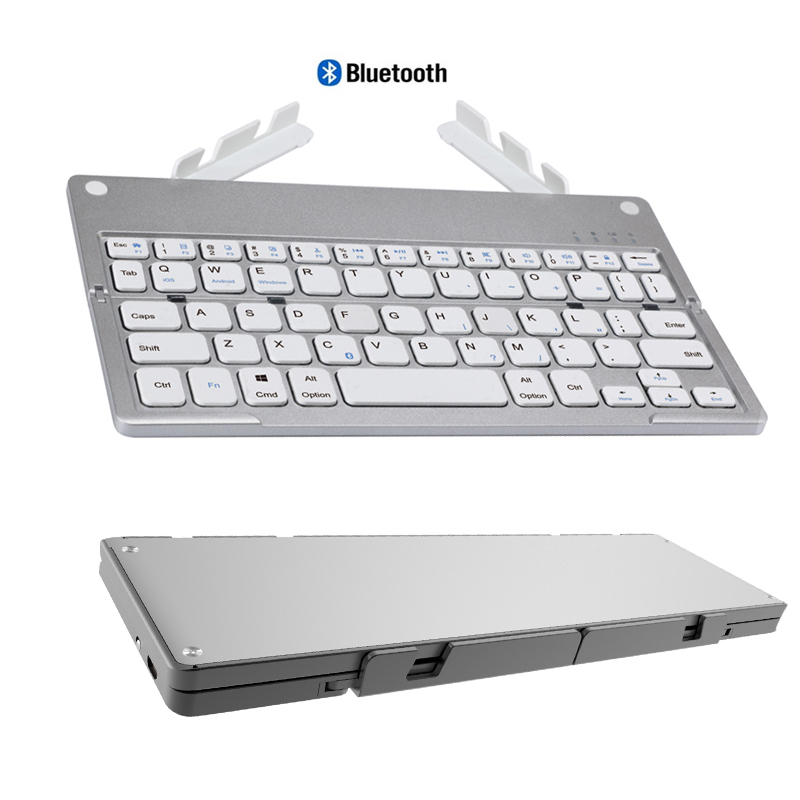 Landas Mini Pocket Folding Keyboard With Stand Hidden For iPhone Tablet Foldable Bluetooth Keyboard With Stand For Xiaomi Huawei