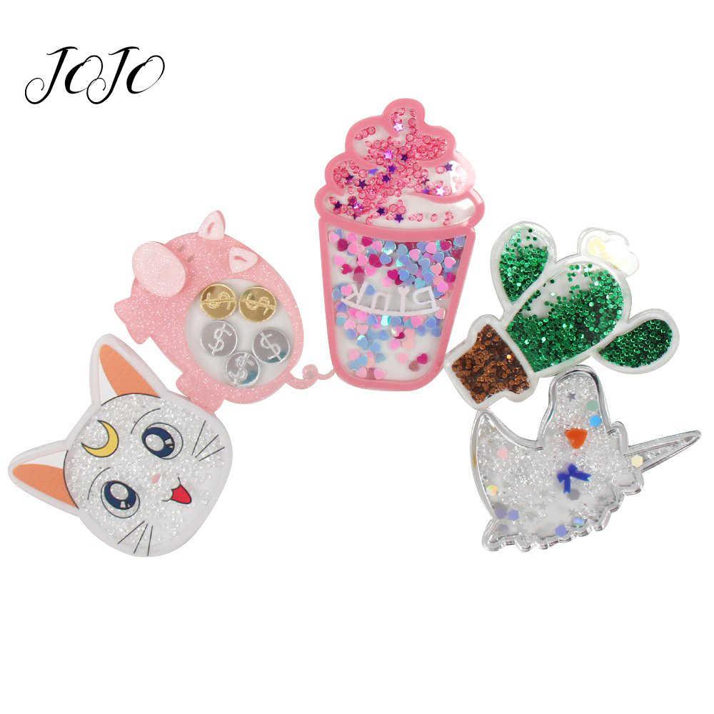 Jojo bows 1pc quicksand 의류 장식을위한 수지 패치 루나 고양이 선인장 유니콘 액세서리 수제 공예 장식 매달려