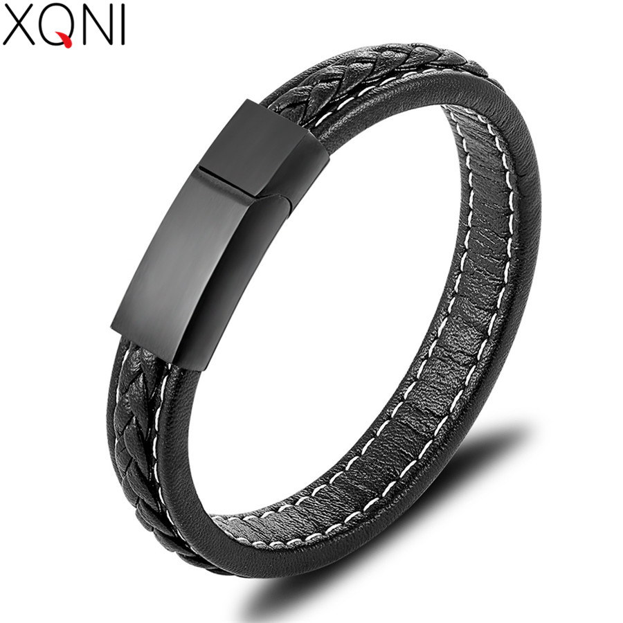 XQNI 2019 New Classic Fashion Jewelry Top Sale Genuine Leather Bracelet For Men Women Hand Accessories Bangle Spacial Gift