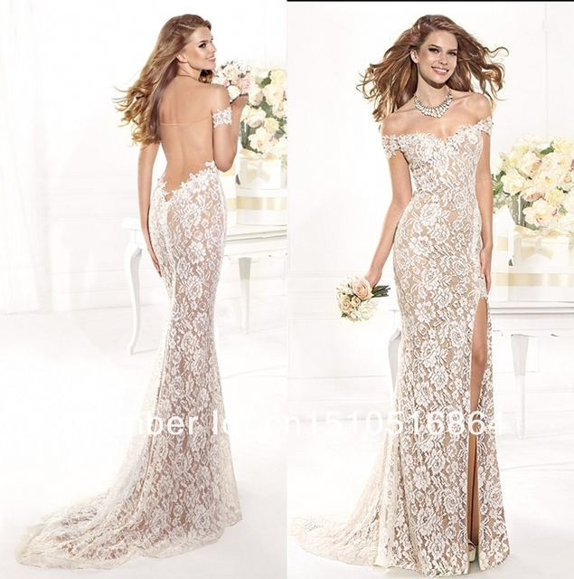bde05f90d5 Sexy Floor Length High-Slit Mermaid Backless Long White Lace Evening Gown  Prom Dress 2014