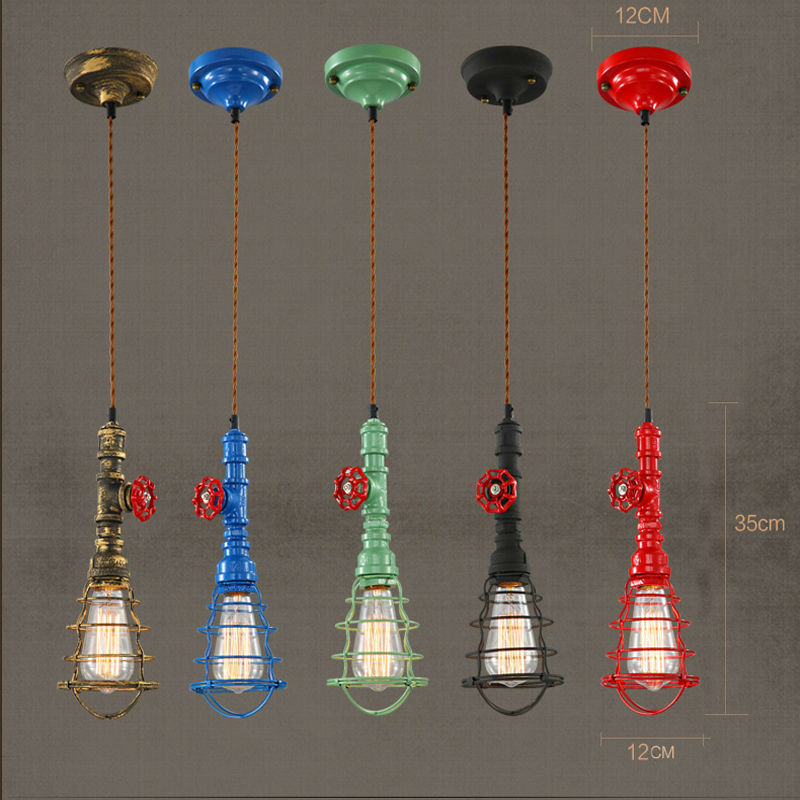 Iwhd Water Pipe Retro Vintage Ceiling Light Fixtures: Vintage Water Pipe Pendant Light Retro Rope Cord Ceiling