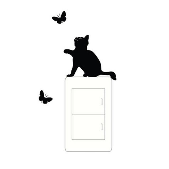 Dessin Anime Amovible Mignon Belle Chat Noir Papillon Prise