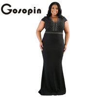 Gosopin Fashion Woman Black Rhinestone Front Bodice Scalloped Neckline Plus Dress Maxi Dress New Party Vestidos