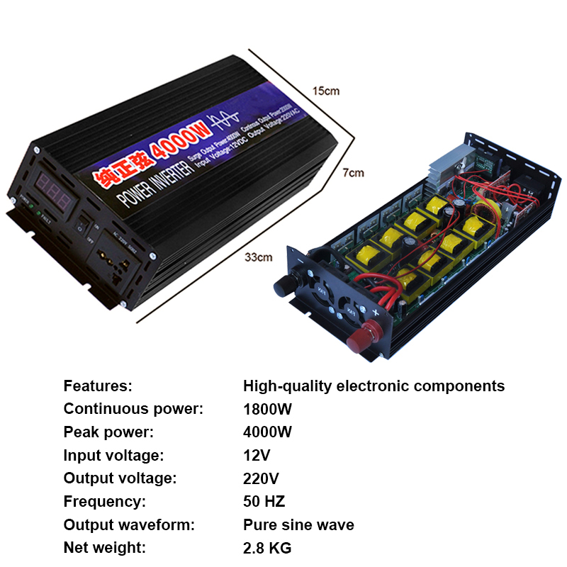 Image 3 - 4000W 2000W Car Inverter DC12V To AC220V Pure Sine Wave Car Portable Inverters Voltage Converter For Home Cars Auto Accessories-in Car Inverters from Automobiles & Motorcycles