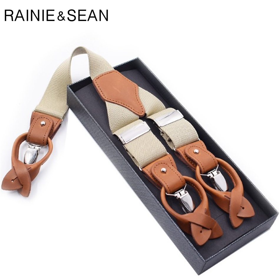 RAINIE SEAN Suspender Men Solid Beige Clips Shirt Braces Real Leather Male Wide Suspenders Belt For Shirts Y Back 125cm 3.5cm