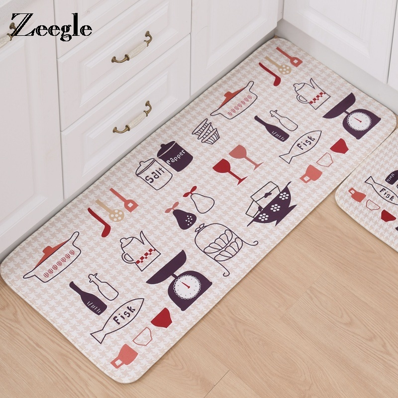 Cooking Utensil Printed Kitchen Rugs Entrance Mats Home