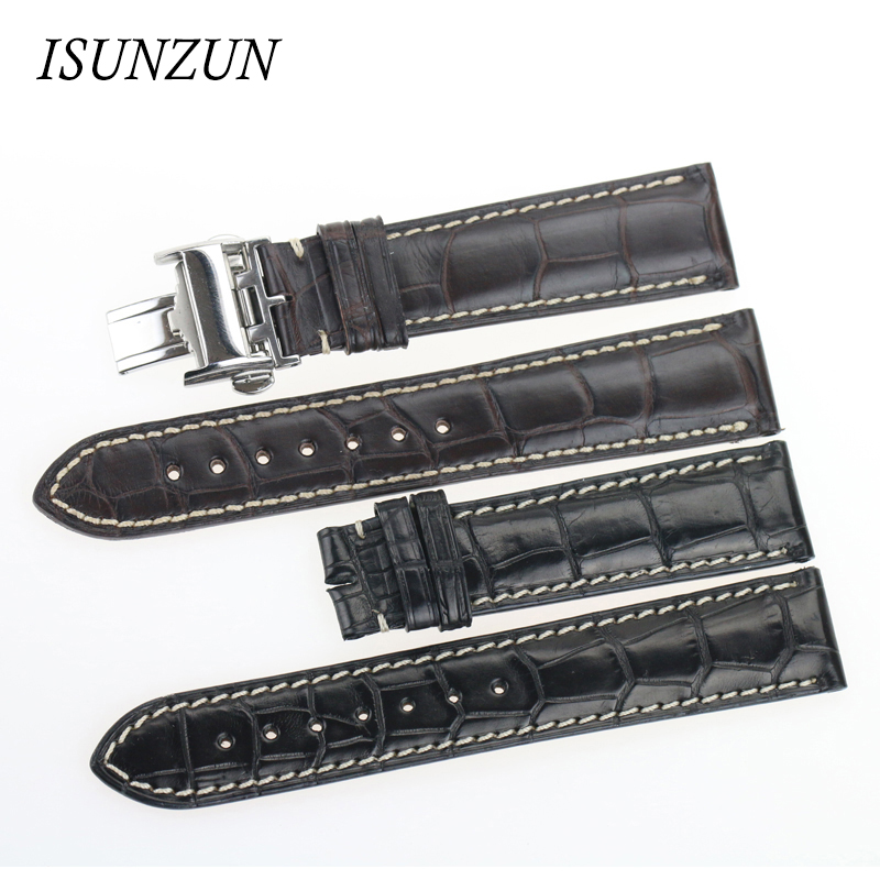 ISUNZUN Men's Watch Band For Longines Military Flag L2.673 Crocodile Men Genuine leather Watch Band original Strapps Watchband isunzun watch band for longines l2 l4 watch strap crocodile skin watchband genuine leather brand durable exquisite bracelet