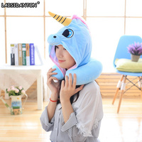 LAISIDANTON Blue Pink Unicorn Hat Creative Plush Cap U Type Neck Travel Pillow Anime Cartoon Funny