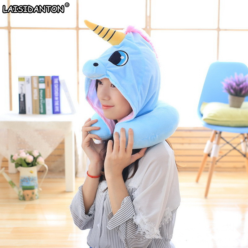 LAISIDANTON Blue Pink Unicorn Hat Creative Plush Cap U Type Neck Travel Pillow Anime Cartoon Funny Gifts for Children Women