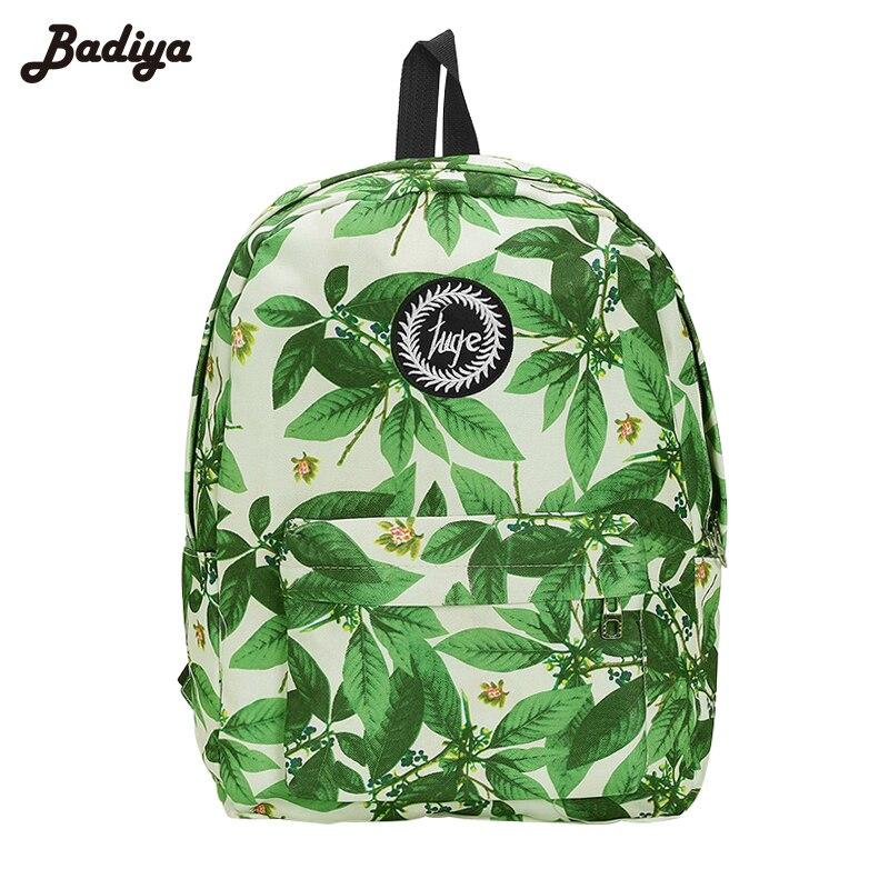 Fashion 2017 Women Green Leaves Print Backpack Teenagers Nylon School Bag For Laptop Book Girls Travel Backpacks Feminino Bolsas