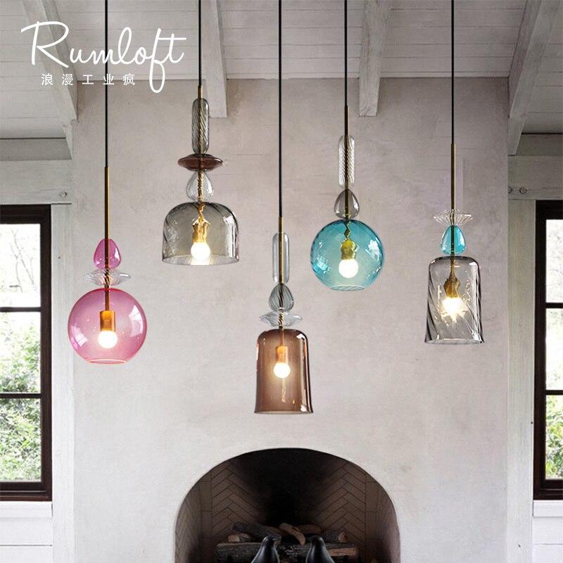 Loft moderne Romantique l'industrie conception bonbons colorés boîte de Verre pendentif lumière salle à manger chambre bar chambre lampe suspendue lumière E27