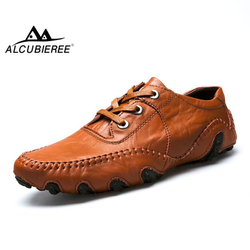 ALCUBIEREE Brand Mens Genuine Leather Loafers Men Casual Lace-up Sneakers Shoes Fashion Octopus Shoes Comfort Shoes Big Size 46 oudiniao men shoes big size lace up comfort split leather men casual shoes handmade loafers luxury slip on mens shoes casual