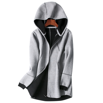 cashmere wool blend thick knit women hooded zip-up sweatshirts coat double face color mid-long M-L