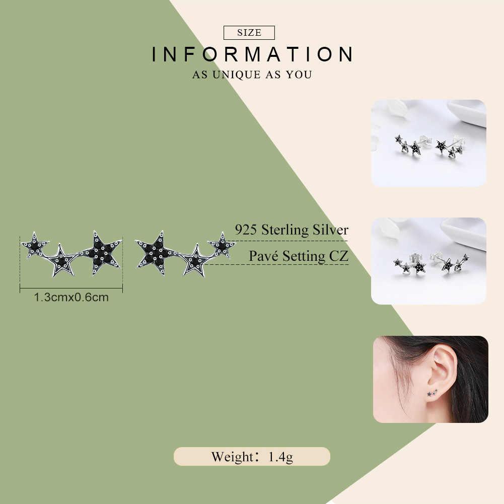 BAMOER Authentic 925 Sterling Silver Stackable Star Black CZ Stud Earrings for Women Sterling Silver Jewelry Bijoux SCE292