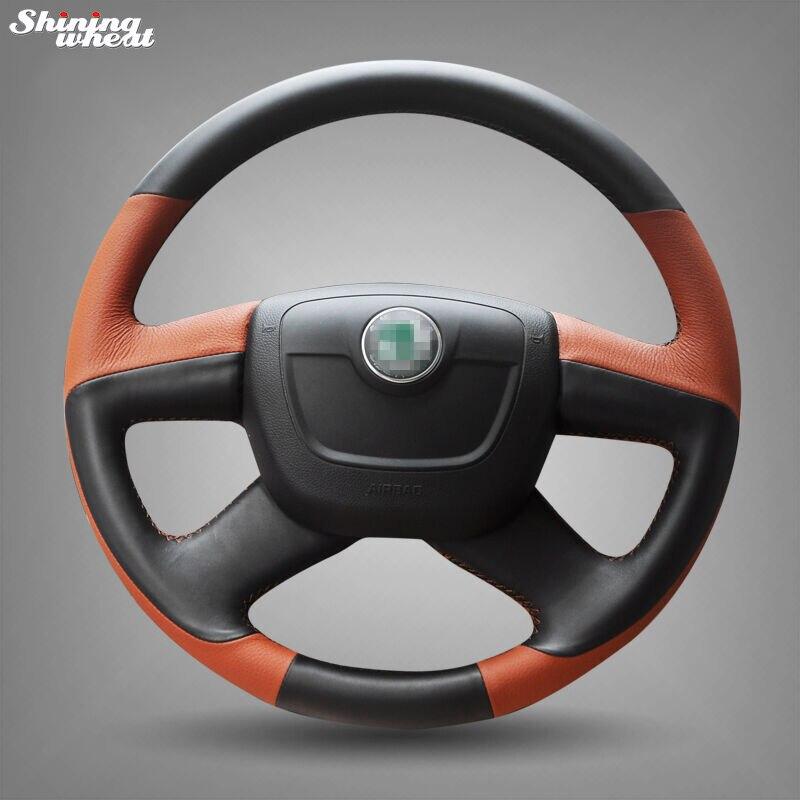 Black Brown Leather Steering Wheel Cover for Skoda Octavia Superb 2012 Fabia Skoda Octavia a 5 a5 2012 2013 Yeti 2009-2013 цена