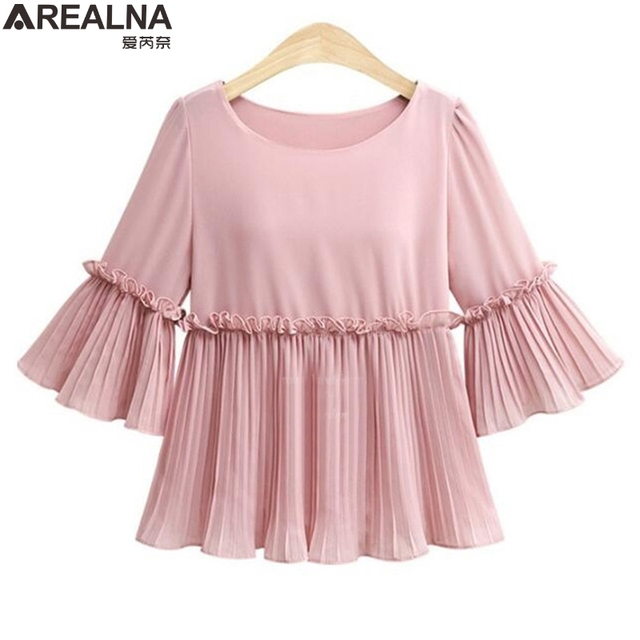 a4ad36af 2018 summer t shirt Women Tops Ruffled korean fashion Pink white ladies t  shirts camisetas mujer tee shirt femme plus size 5XL