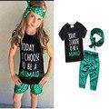 Baby girl clothes 3 unids trajes 2017 Otoño Camisetas de manga Corta + pantalones + de la Venda de la manera 3 unids traje Recién Nacido ropa infantil de la muchacha conjuntos