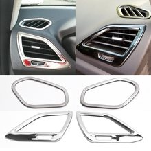 Aço inoxidável interior ar condicionado ac decorativo capa guarnições para lada vesta sedan universal sport sw cruz