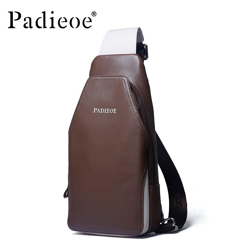 Padieoe Genuine leather Men's Messenger bag Cow Leather Male Waist Chest Bag Hot Selling Cowhide Men Shoulder Crossbody Bags