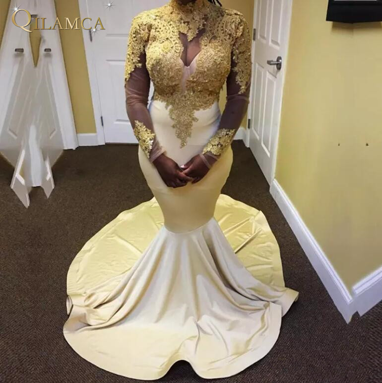Long Sleeves Mermaid   Prom     Dresses   2018 Gorgeous High Neck Top Gold Appliques Floor Length Stretch Satin African   Prom   Party   Dress
