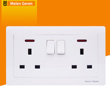 UK Standard Wall Power Socket 2 Gang Push Button Double Universal 3 Hole Switches Outlet with LED indicator 146mm*86mm White