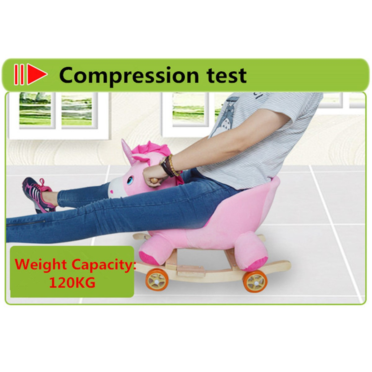 Peluche en bois Animal cheval à bascule jouet de troie chaise à bascule bébé chariot enfant avec musique anniversaire cadeau pour enfants - 6
