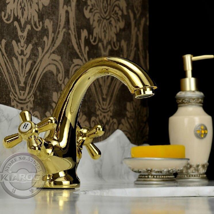 Nouveau style robinet de lavabo de salle de bain avec pied à griffes. robinet mitigeur de lavabo à Double trou doré.