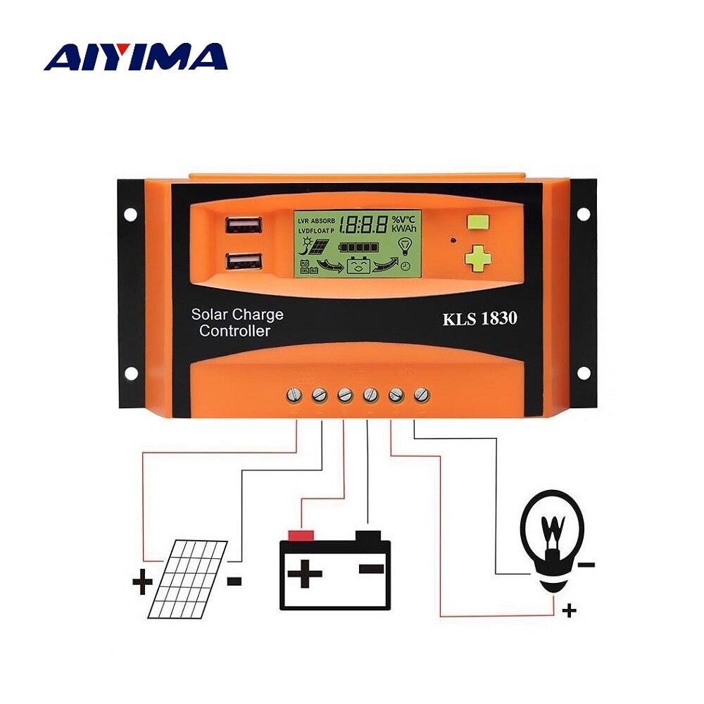 Aiyima Pwm 12v 24v 30a Solar Controller Lcd Function Dual