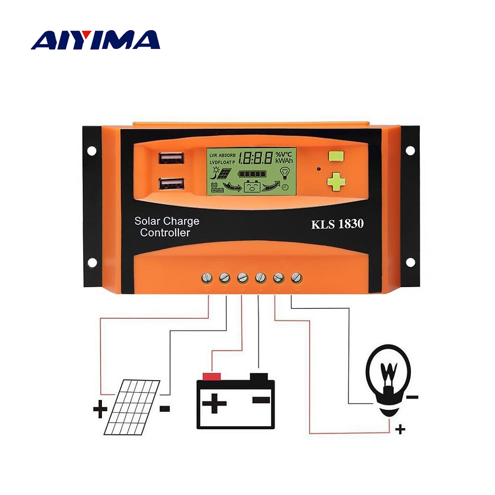 Aiyima PWM 12V 24V 30A Solar Controller LCD Function Dual USB 5VDC Output Solar cells Panels Battery Charge Regulator