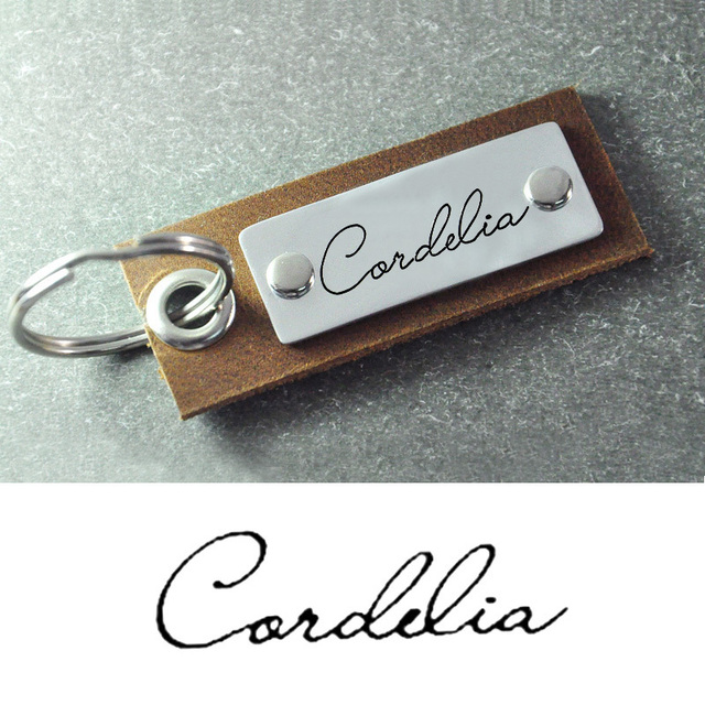 Leather Keychain alloy bar  Personalized Gift for Father's Day  signature keychain  signature keyring  leather key chain