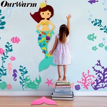 OurWarm Mermaid Themed Birthday Party Supplies DIY Felt Gifts Kids Background Decorations