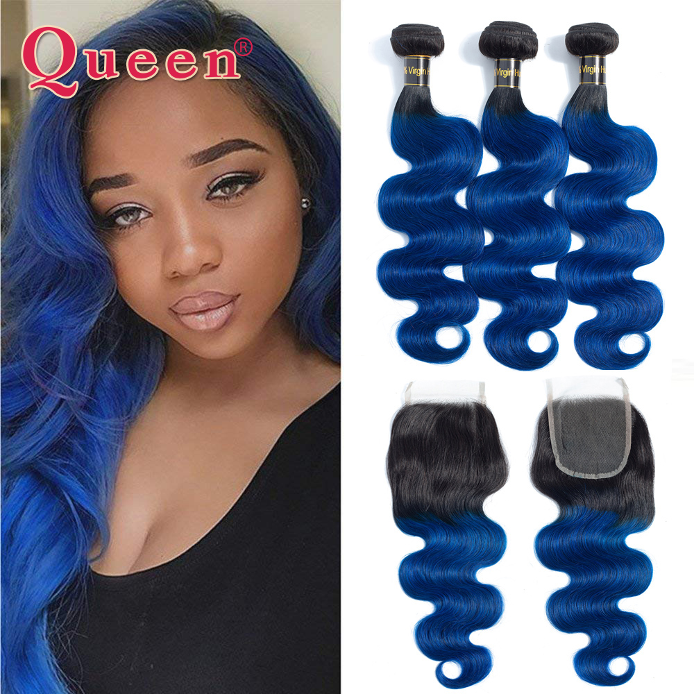 Queen Hair Products Brazilian Body Wave Human Hair 3 Bundles With Lace Closure 1B Blue Dark