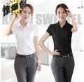 2015 New spring Fashion black Shirt Cotton short sleeve Office Lady OL Business shirt White  Top Blouse free shipping #B0
