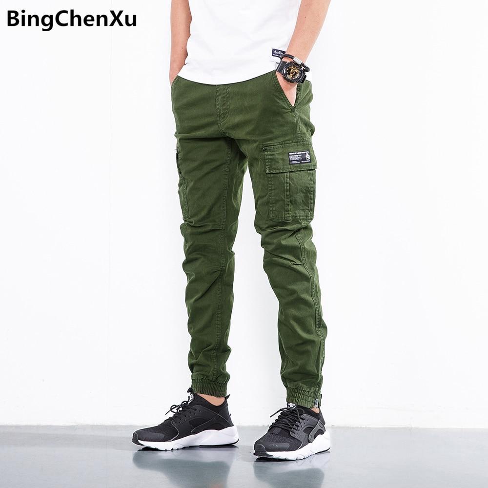 7e28441680ae Bingchenxu Casual hombres pantalones 2018 nueva moda algodón militar ropa joggers  pantalones de chándal Pantalon Hommes hip hop pantalones 889