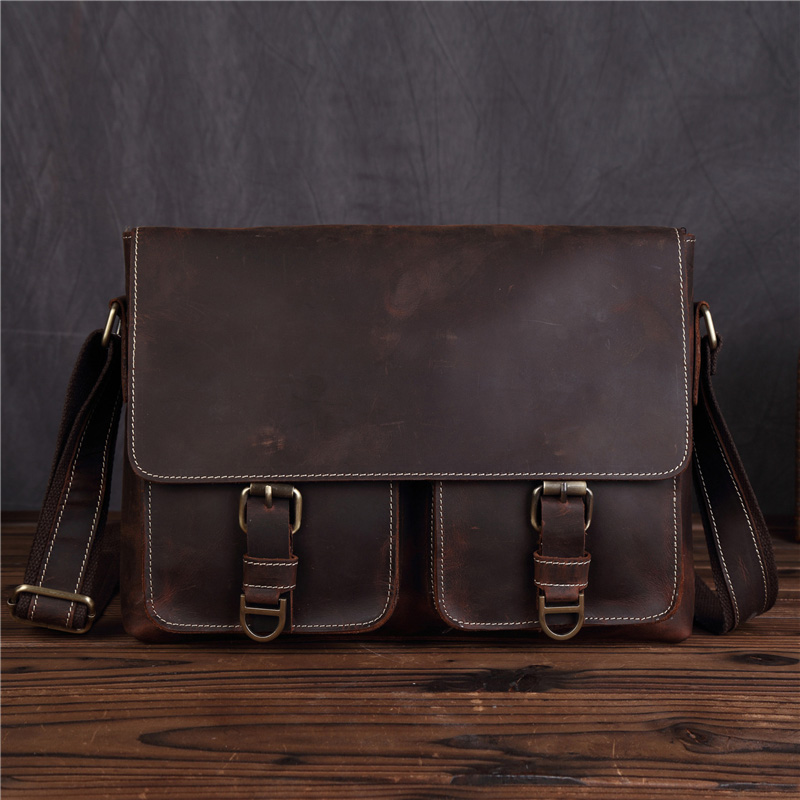 Fashion Brand Genuine Leather Men Messenger Bag Retro Design Business Cow Leather Shoulder Crossbody Bag Male Work Bags SDM1058 new style messenger bag men leather top grade all match hasp fashion retro cow leather men bag solid color small shoulder bags