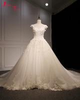Jark Tozr Vestido De Noiva Princesa Scoop Neck Cap Sleeve Beading Appliques Bride Gown White Luxury