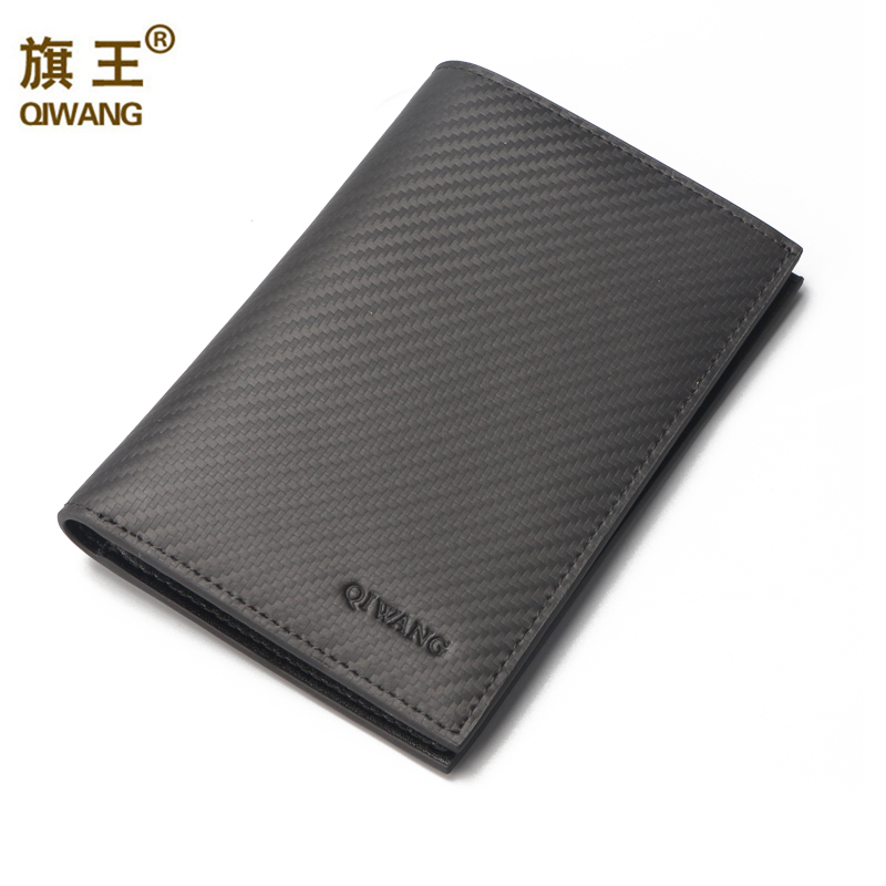 QIWANG Carbon Pattern Real Genuine Leather Menss
