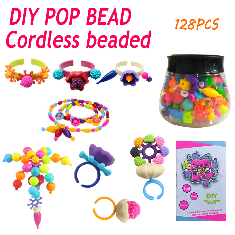 Educational Toys Girls Handmade DIY Plastic Pop Beads Assembled Blocks Candy Sugar Jewelry Puzzle Toys for