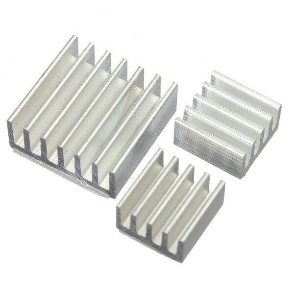 1 conjunto de 3 pçs/lote refrigeradores de calor, kit com dissipador de calor de alumínio adesivo para refrigeração raspberry pi