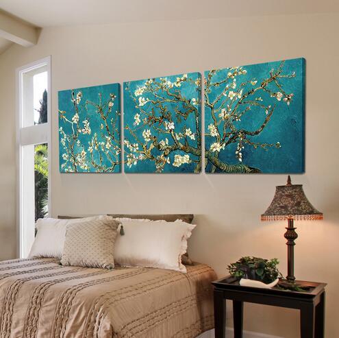 Unframed Druck Gemalte Van Gogh Ölgemälde Reproduktionen 3 Stück Abstrakte Leinwand Wandkunst Apricot blume Bild leinwand malerei