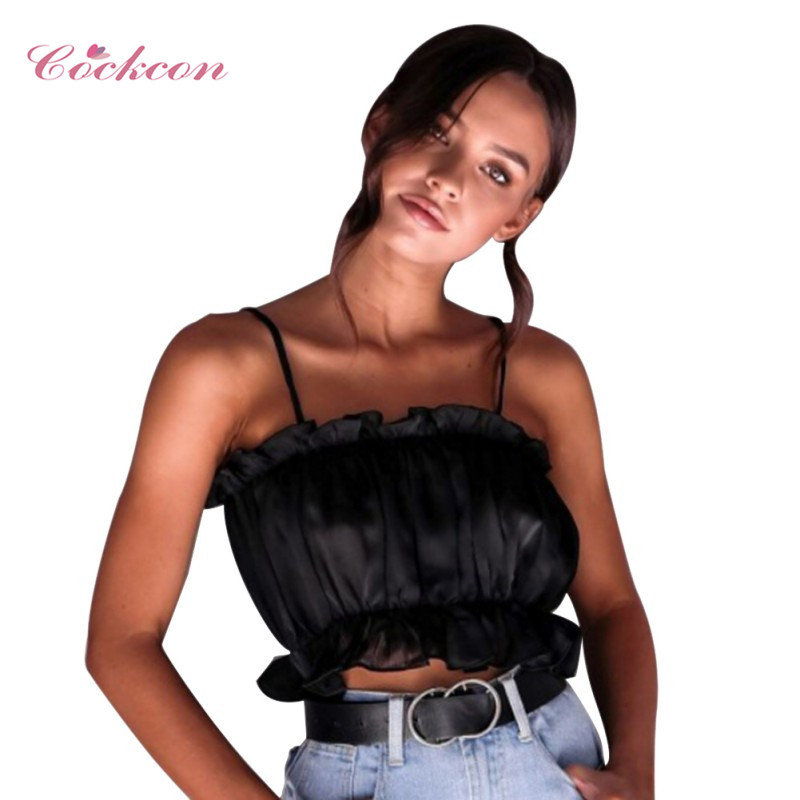 women Short Top Solid Chiffon Sling Camis Streetwear Tube Top Girl Fashion Ruched Pleated Crop Top 2019