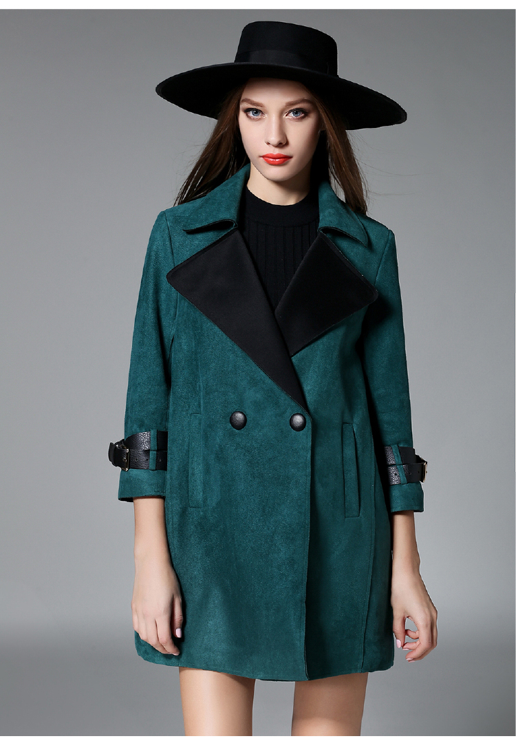 Womens Outerwear European style Fashion wool Celebrity ladies trench Coat Size