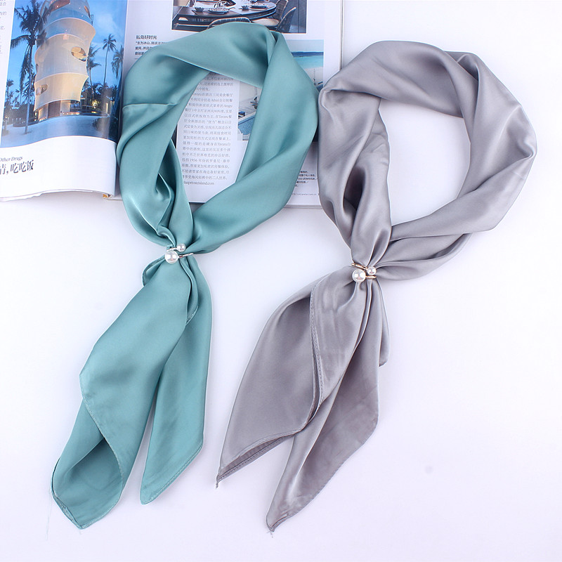 plain women small silk   scarf   for ladies square   scarves   headband female neck   wraps   70*70cm with pearl buckle Shawl Ring Clip