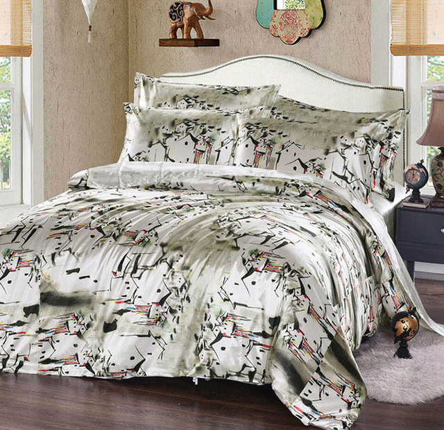 Chinese Arts Ink Painting Duvet Cover Bed Sheet