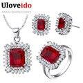 50% de descuento conjunto africano de la joyería de plata plateado joyería de la boda fija el collar cristal rojo anillos pendientes de regalos para las mujeres uloveido t546