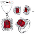 50% off African Jewelry Set Silver Plated Wedding Jewelry Sets Necklace Red Crystal Rings Earrings Gifts for Women Uloveido T546
