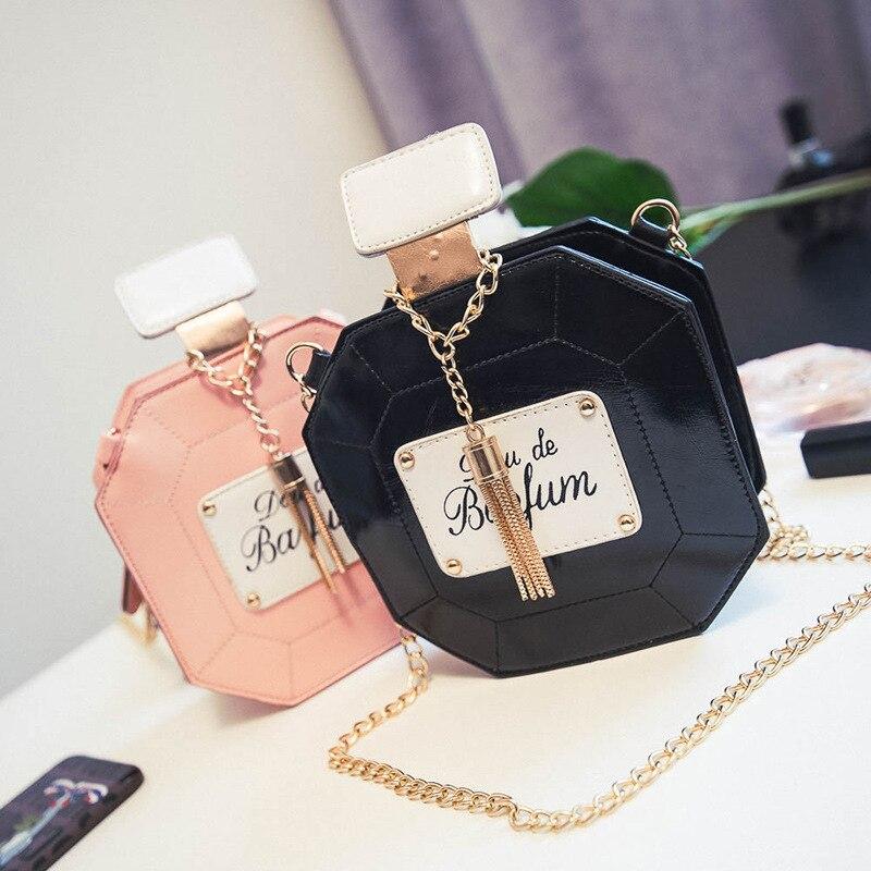 bilder für OKEECA Weicher PU Fashion Parfümflasche Telefonkasten für iPhone Xiaomi Huawei Frauen Mädchen Luxus Einzel Schulter Handtasche 2017 Stil